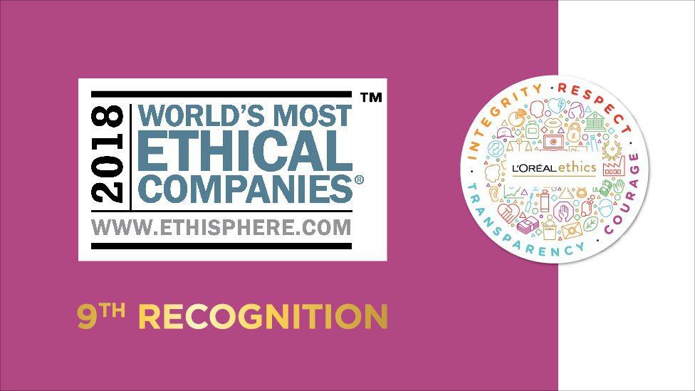 9.° RECONOCIMIENTO - L'Oréal es nombrada como una de las empresas más éticas del mundo