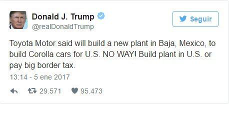 Amenaza Trump a Toyota - Japón defiende a Toyota frente a las amenazas de Donald Trump