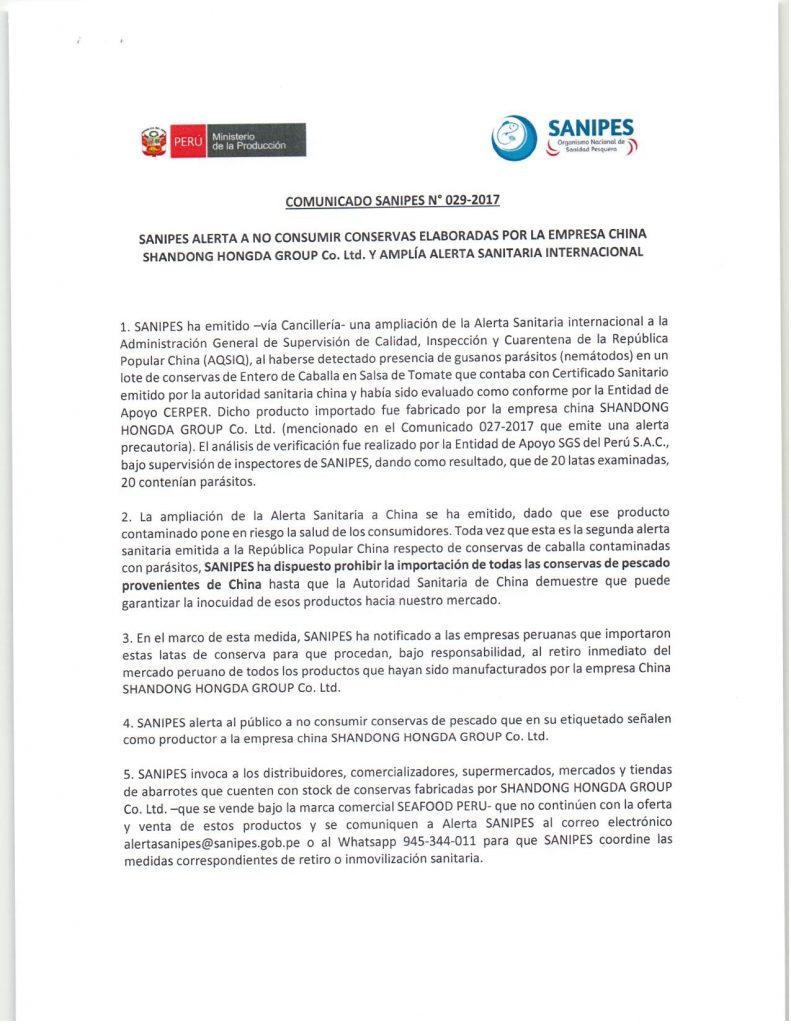 COMUNICADO 029 791x1024 - Gobierno peruano prohíbe ingreso de conservas de pescado provenientes de China
