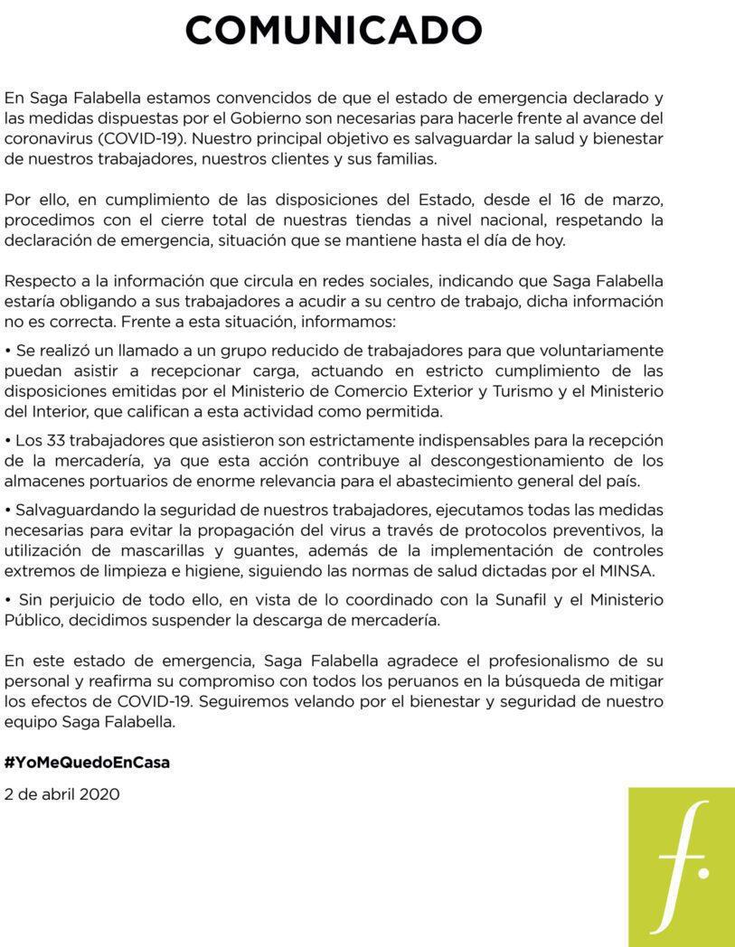 COMUNICADO FALABELLA scaled - Perú: Sunafil dispuso retiro de trabajadores en almacén de Falabella