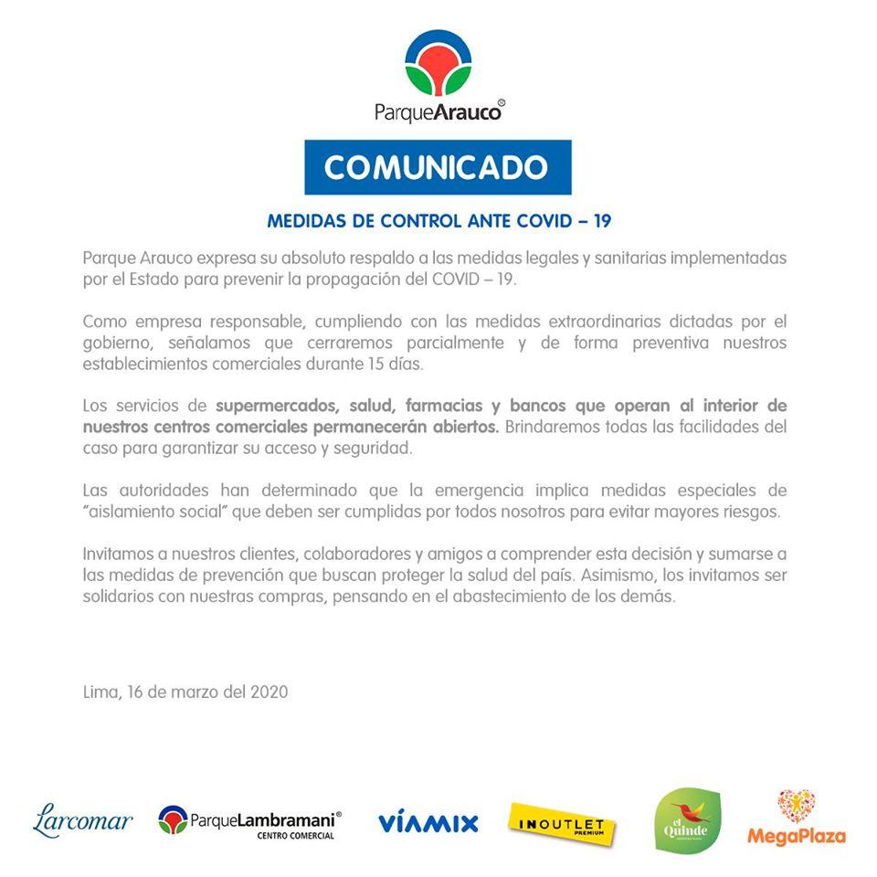 Comunicado ParqueArauco COVID19 - Perú: MegaPlaza informa horarios de locales que seguirán atendiendo
