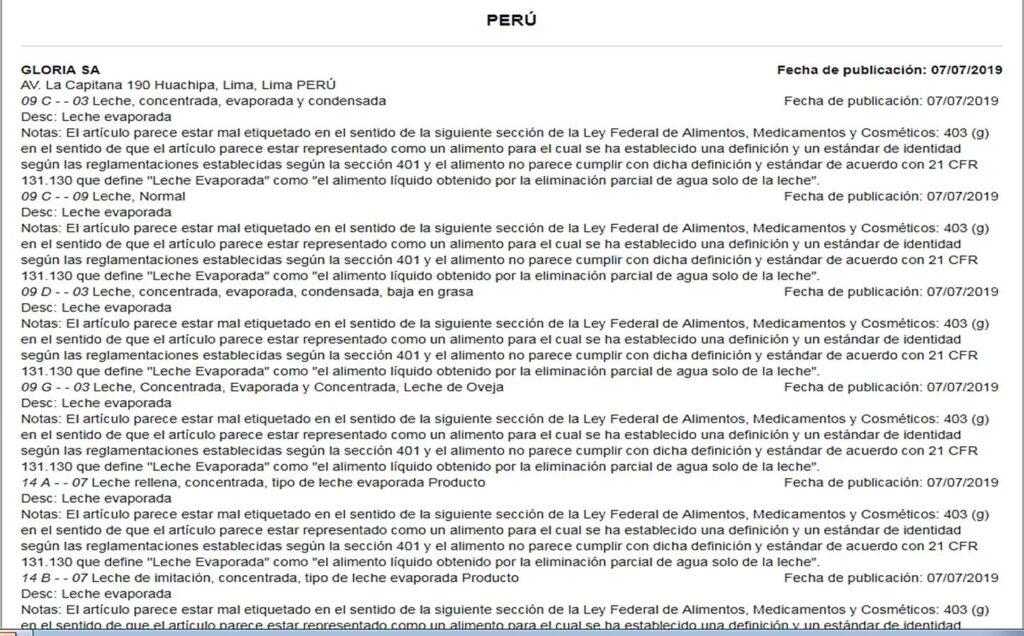 FDA leche gloria lista roja Perú Retail 1024x636 - La lista roja que pesa sobre 6 productos del grupo Gloria