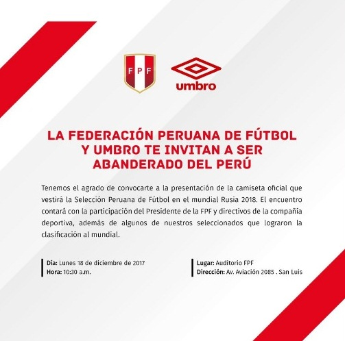 FPF - Mundial Rusia 2018: FPF y Umbro presentarán este lunes la nueva camiseta de la selección peruana en la Videna