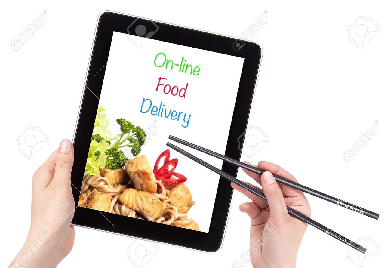 Online-Food-Delivery-concept-with-computer-isolated-Stock-Photo
