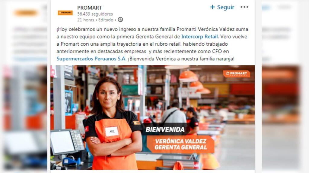 PROMART GERENTE 2020 1 1024x576 - Verónica Valdez, se convierte en la primera gerente general de Intercorp Retail