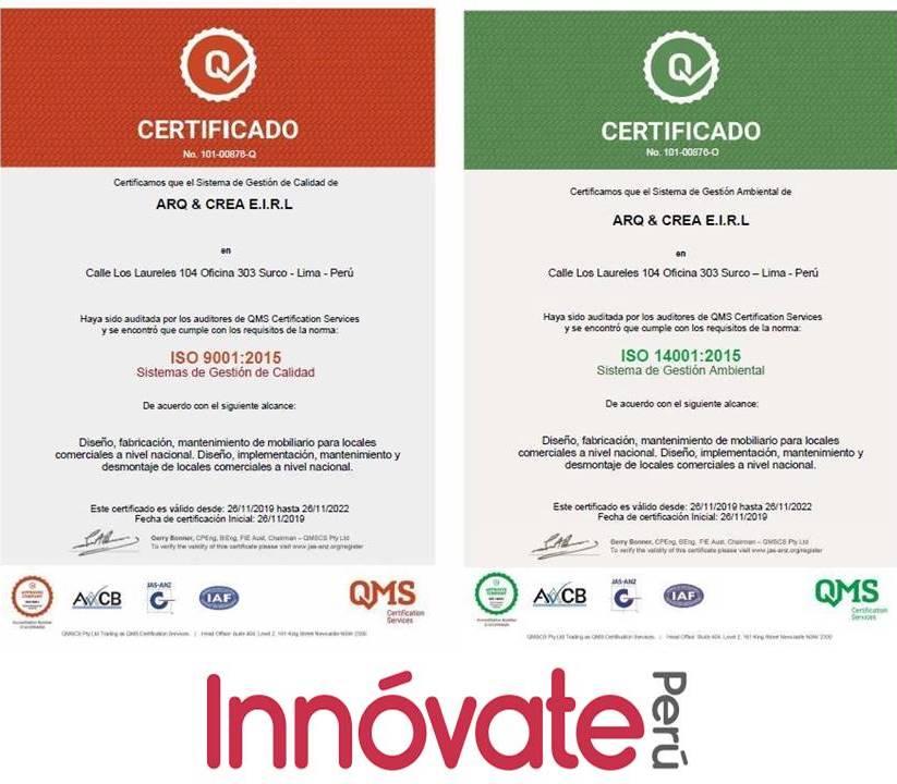 Presentación certificados innovate - Arq & Crea fortalece sus servicios en el sector retail con certificaciones ISO - Innóvate Perú