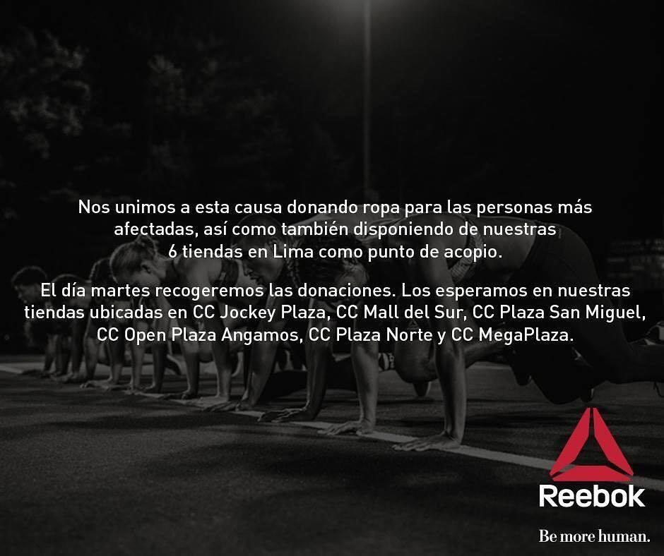 REEBOK - Conoce las marcas que están apoyando a los damnificados por los huaicos