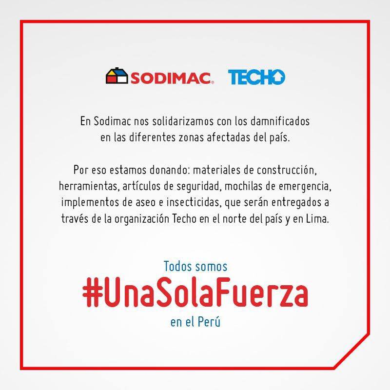 SODIMAC - Conoce las marcas que están apoyando a los damnificados por los huaicos