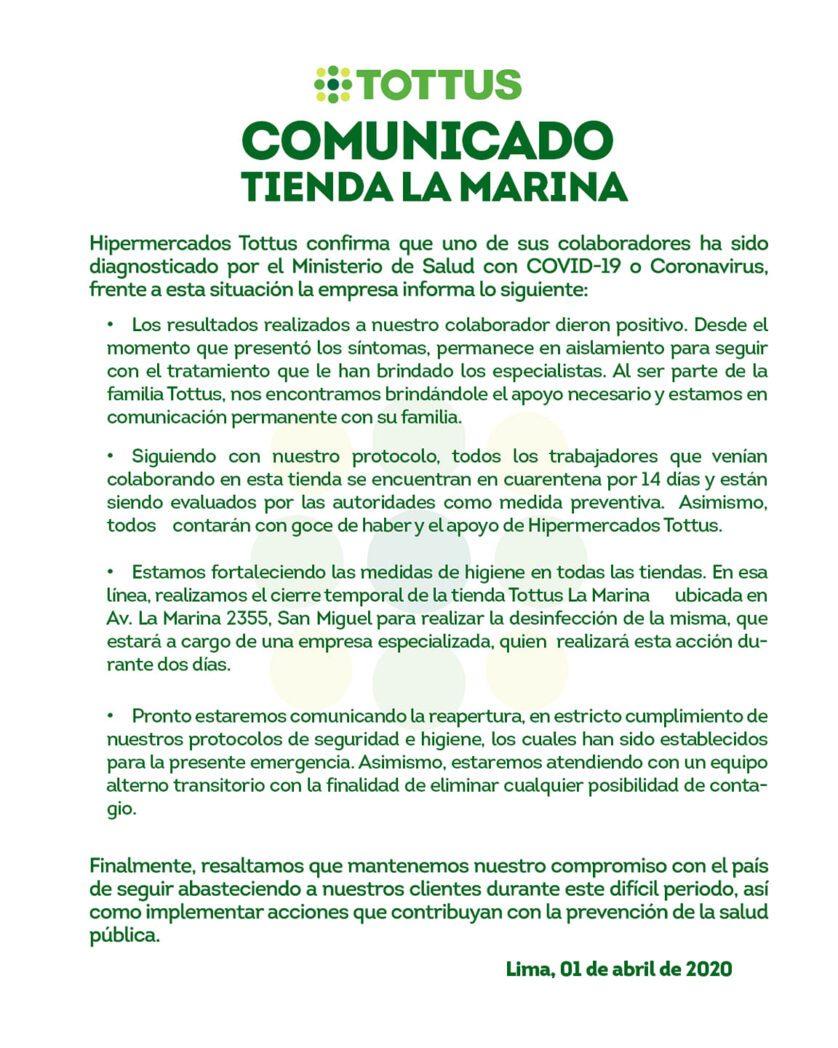 Tottus1 - Perú: Tottus La Marina cierra supermercado por trabajador con COVID-19