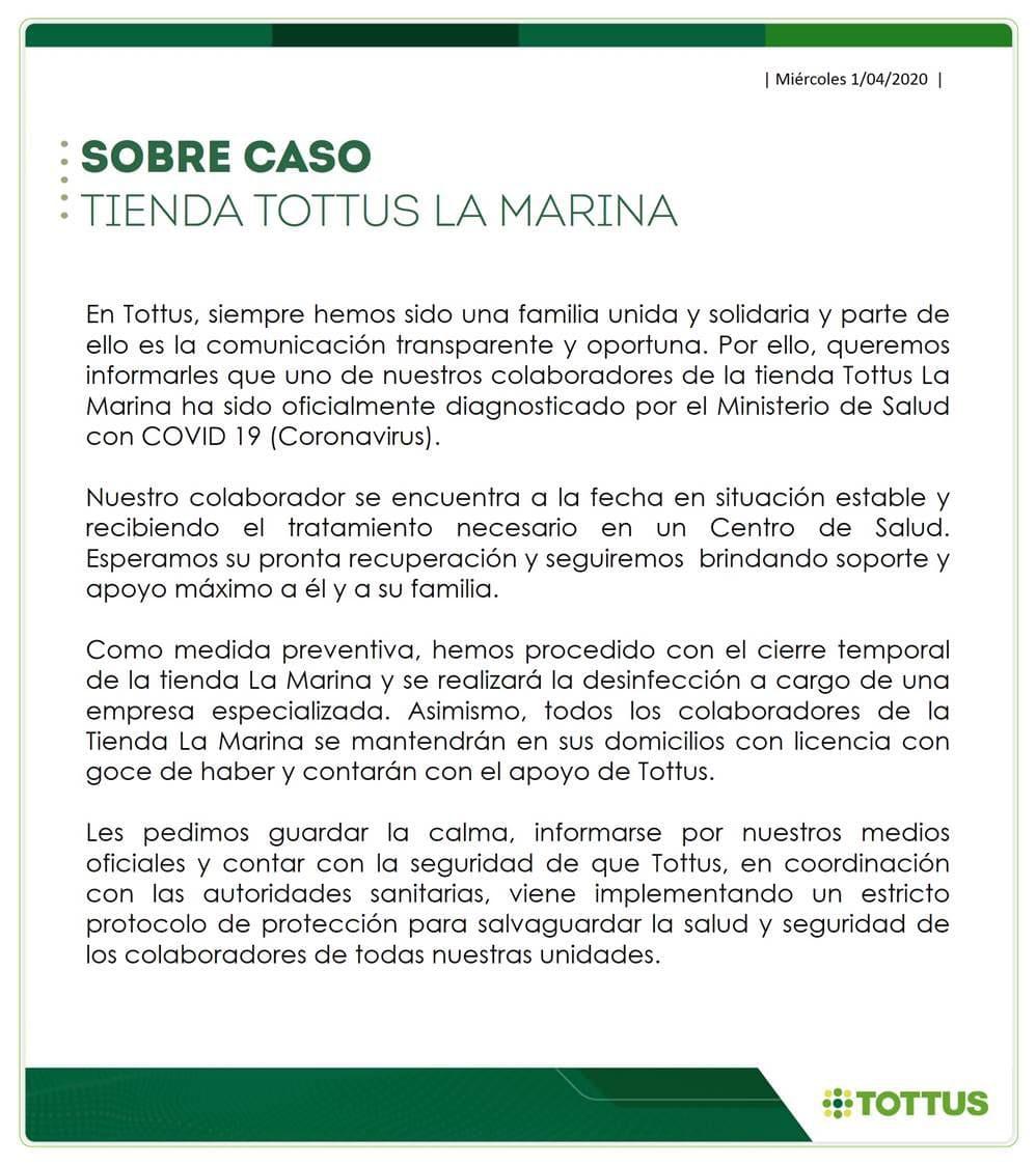 Tottus2 1 - Perú: Tottus La Marina cierra supermercado por trabajador con COVID-19