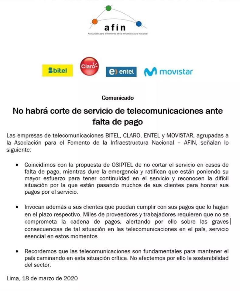 afin celus - Empresas de telecomunicaciones no cortaran servicio ante falta de pago