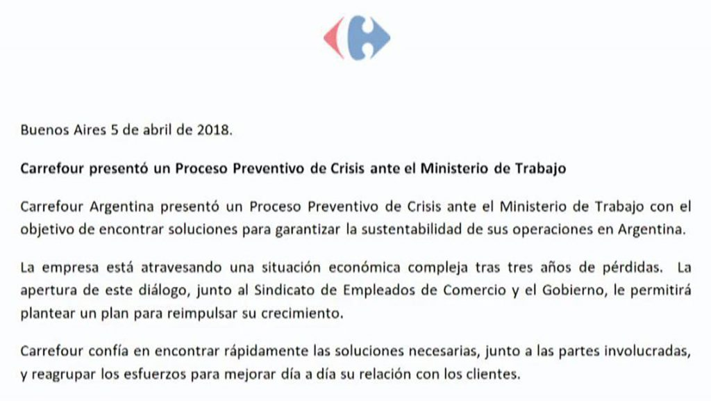 carrefour proceso preventivo de crisis 1024x577 - Argentina: Carrefour despediría a 3.000 empleados y cerraría 11 sucursales