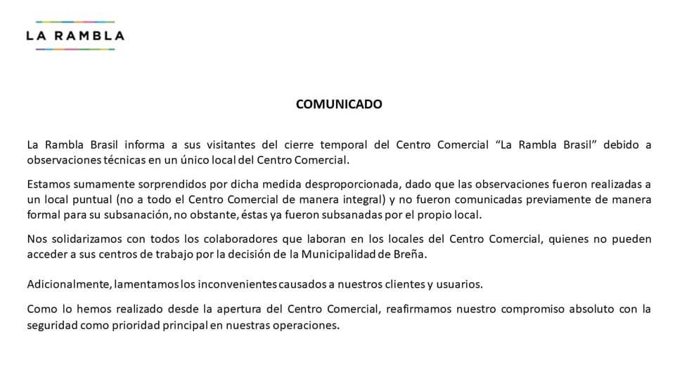 """comunicado de rambla - La Rambla de Brasil: Reabren centro comercial tras cierre temporal por """"medidas de seguridad"""""""