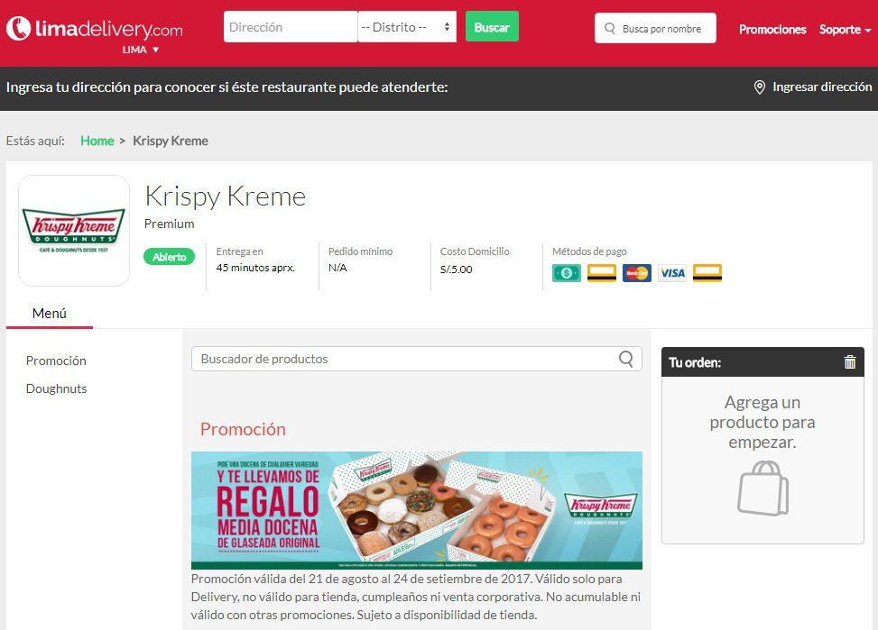 lima delivery krispy kreme - Krispy Kreme lanza servicio de envíos a domicilio a través de LimaDelivery