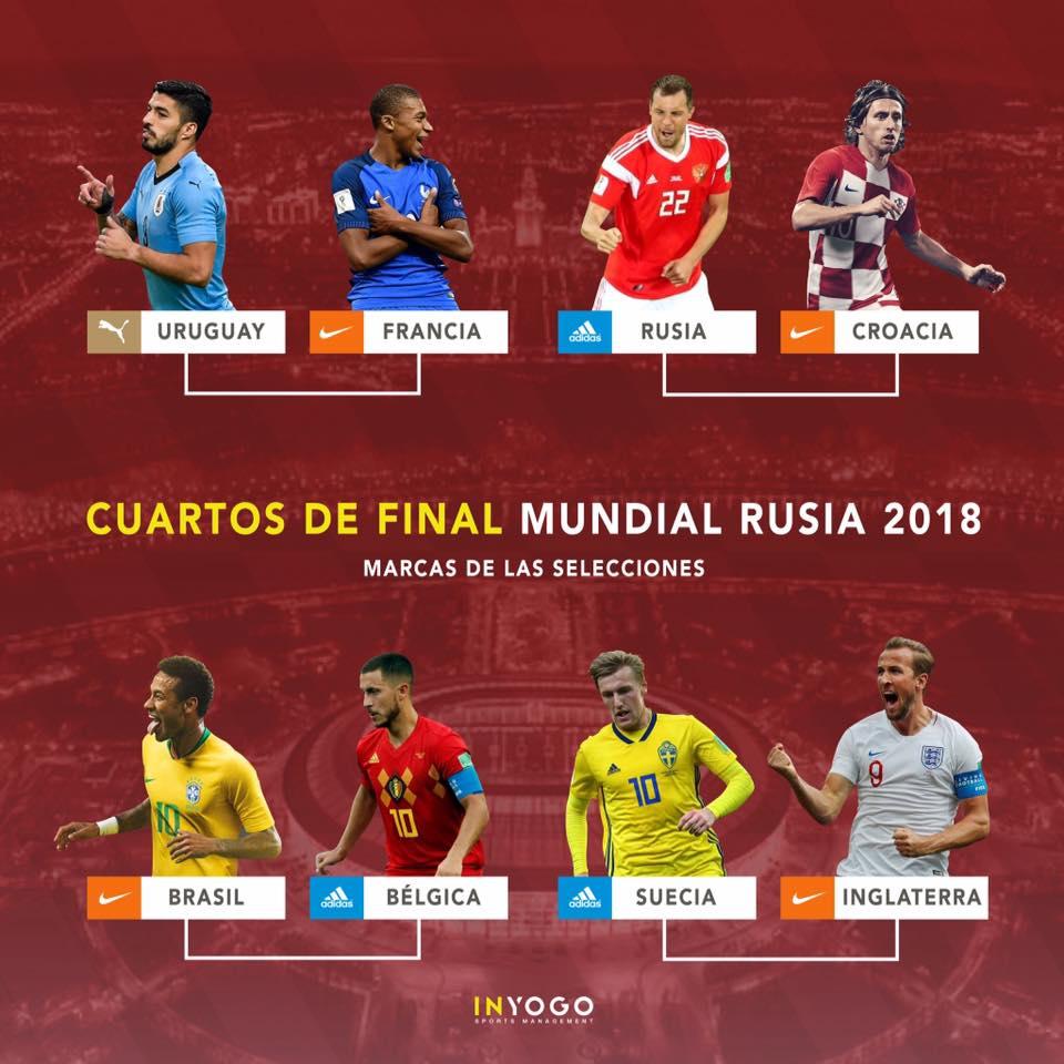 marcas mundial 2018 2 - ¿Qué marcas juegan los cuartos de final del Mundial Rusia 2018?