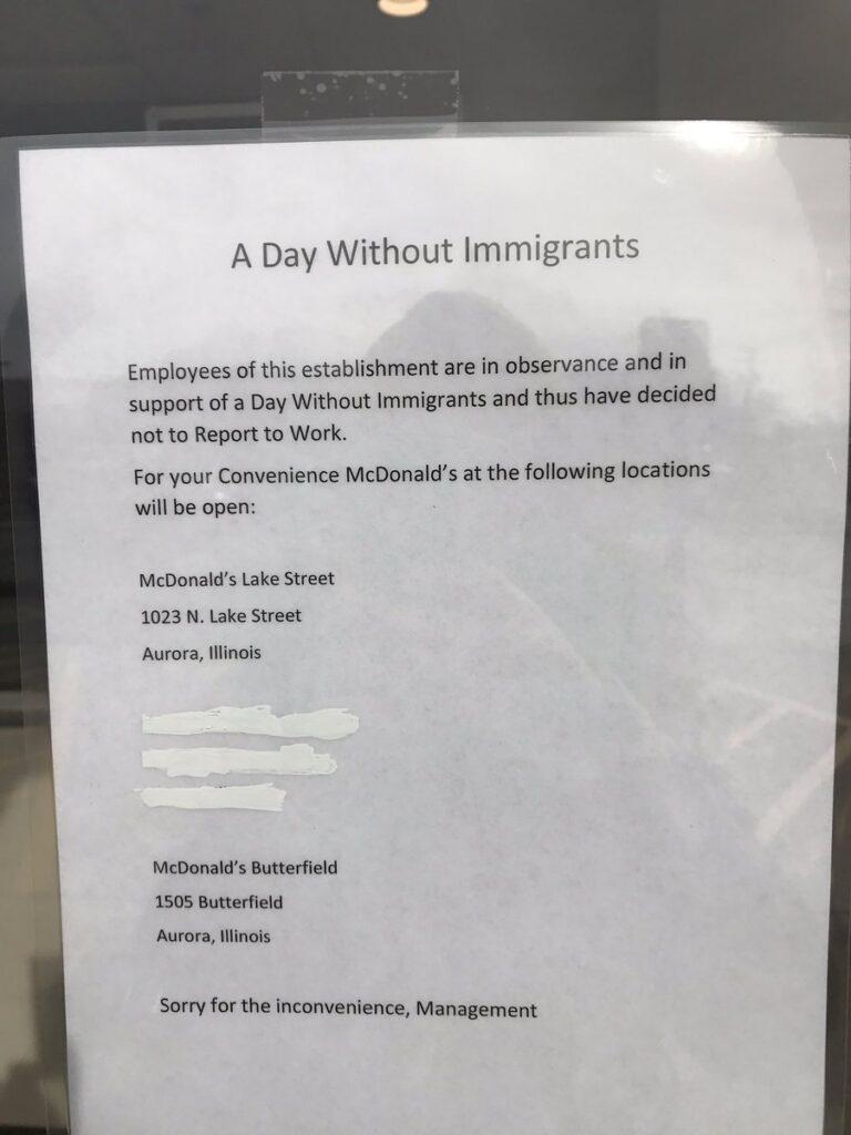 mensaje por el dia sin inmigrantes
