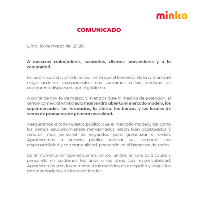 minka 640x640 - Malls peruanos acatan emergencia sanitaria por el coronavirus