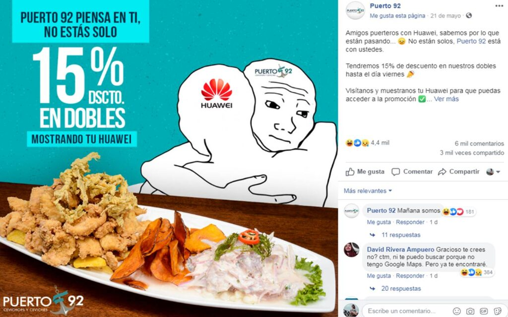 oferta huawei 4 Perú Retail 1024x639 - Conoce los negocios que han aprovechado el veto de Huawei para lanzar ofertas