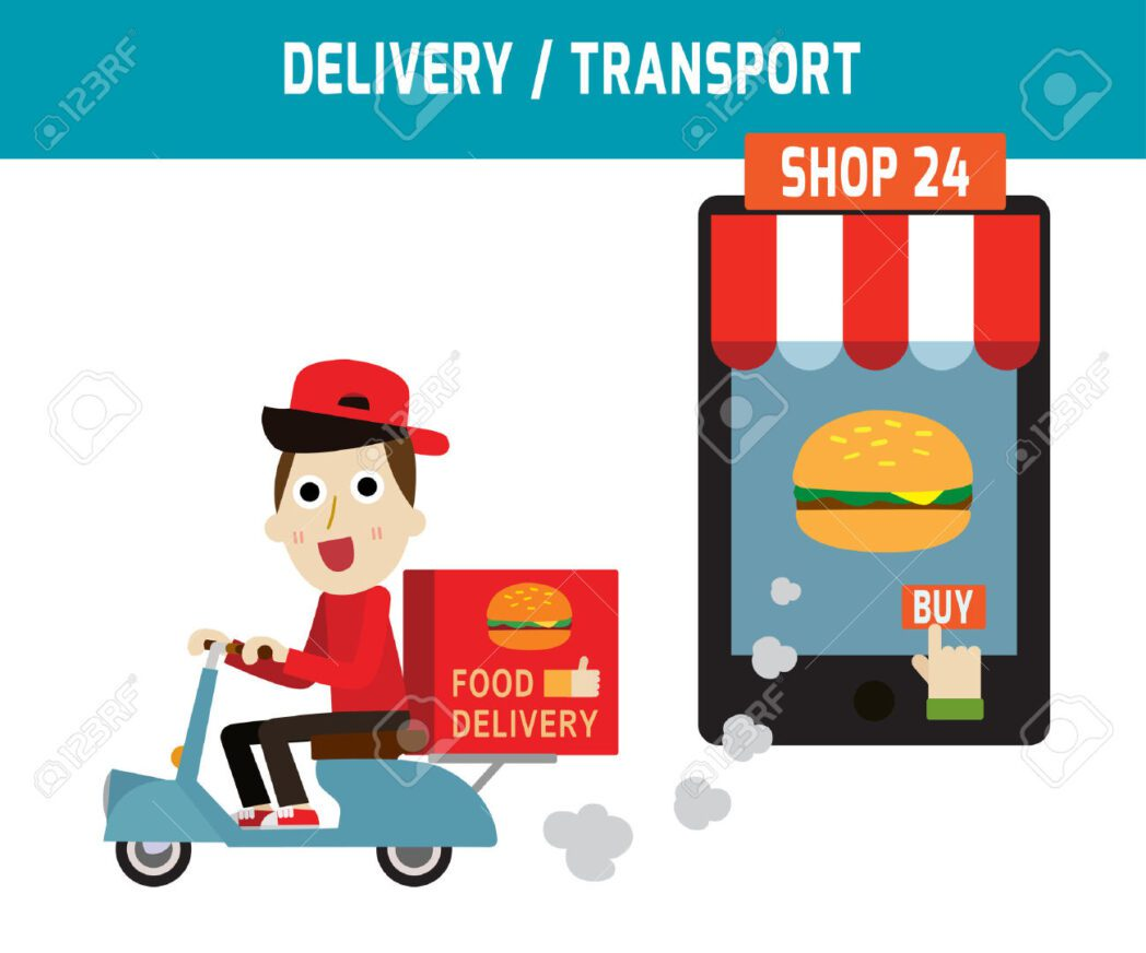 online-ordering-and-fast-food-delivery-service-goods-delivery-man-hipster-is-riding-motorbike-people-stock-vector