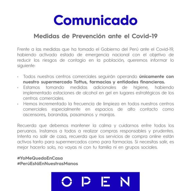 open plaza 640x640 - Malls peruanos acatan emergencia sanitaria por el coronavirus