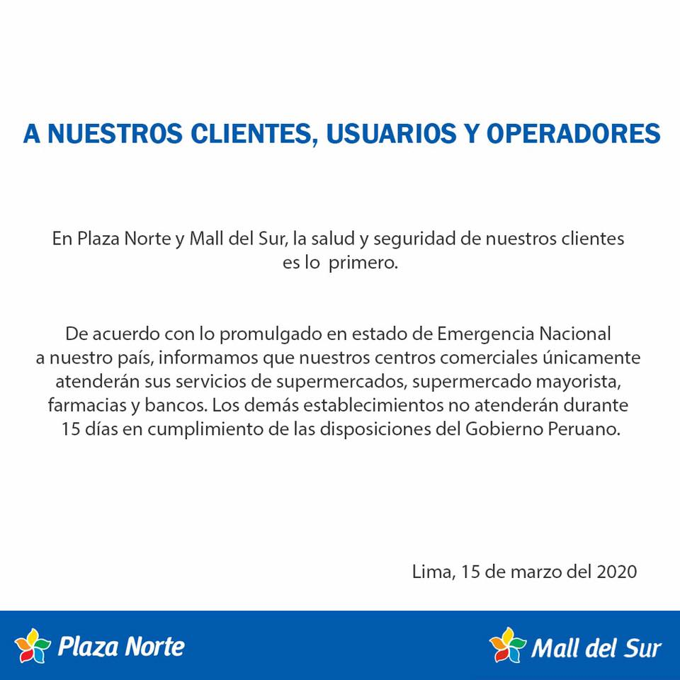 plaza norte mall del sur - Malls peruanos acatan emergencia sanitaria por el coronavirus