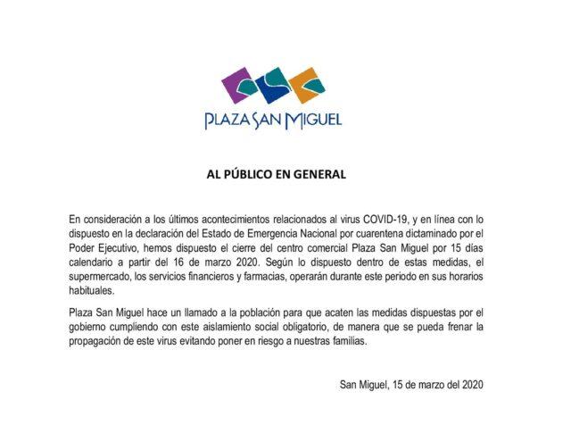 plaza san miguel 1 640x476 - Malls peruanos acatan emergencia sanitaria por el coronavirus