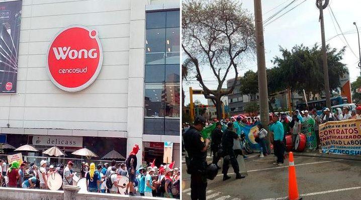 protesta cencosud peru - Empleados de Cencosud protestan en Perú