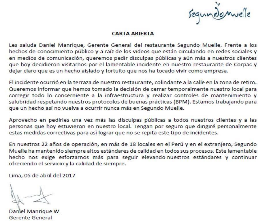 segundo muelle carta - Segundo Muelle cierra temporalmente 5 locales en Lima ante problemas de salubridad