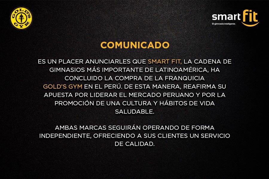smart fit golds gym - Smart Fit adquiere la cadena de gimnasios Gold's Gym en Perú