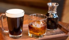 Barrel Aged Con Crema and Barrel Aged Cold Brew with Starbucks Whiskey Barrel-Aged Sulawesi photographed at the Starbucks Reserve Roastery on March 2, 2017. (Joshua Trujillo, Starbucks)
