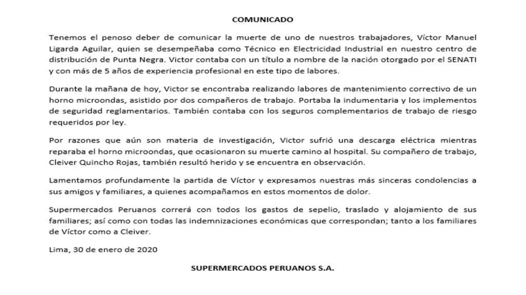 supermercados peruanos 4 1024x574 - Supermercados Peruanos responde tras la muerte de trabajador en Vivanda